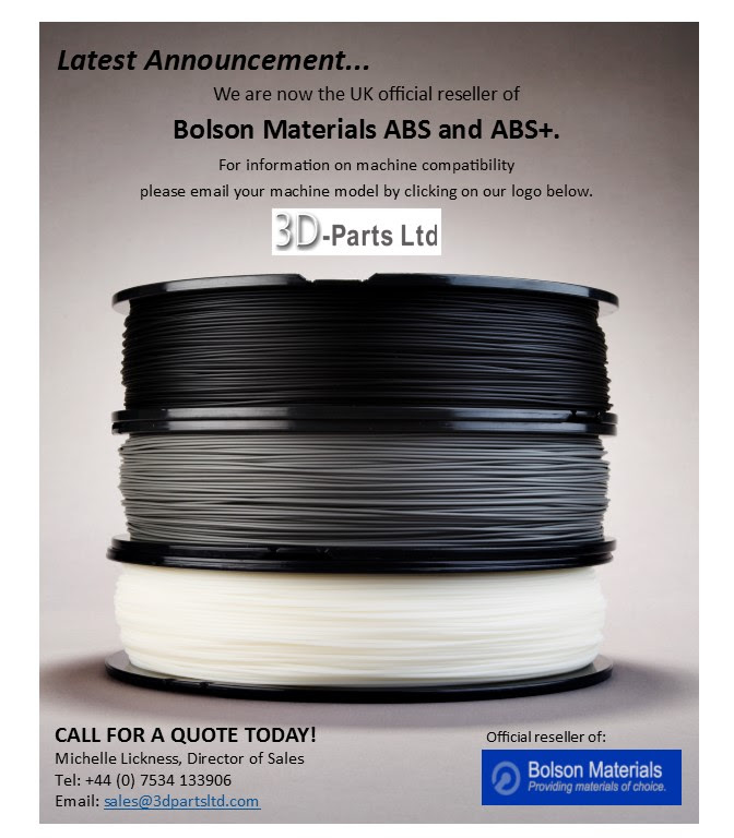3D Parts Ltd, UK Official reseller of Bolson Materials ABS and ABS+